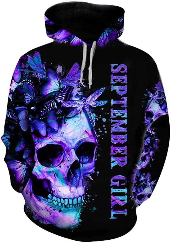 Women's Hoodies, Fashion Unisex Halloween Casual Long Sleeve Drawstring Skull Print Tops Hooded Sweatshirt Pullover