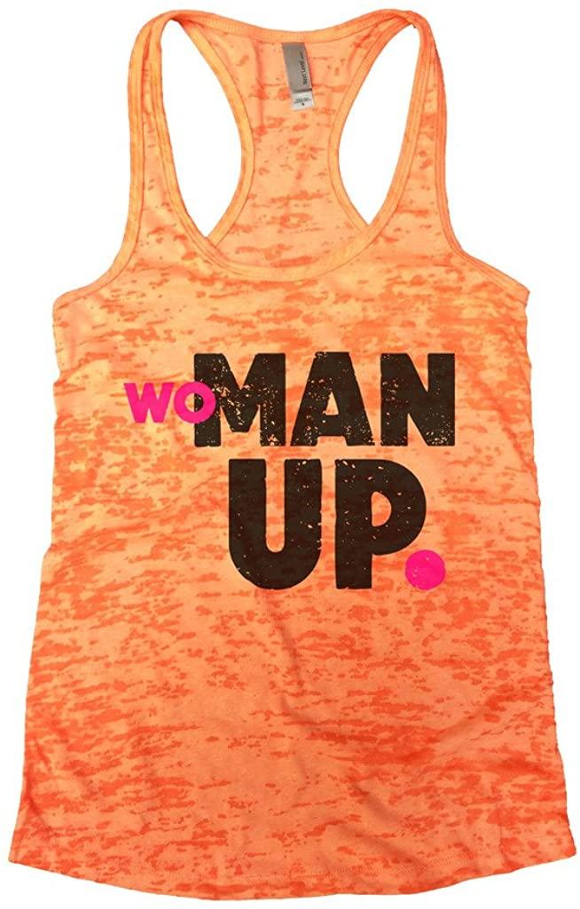 Funny Threadz Womens Burnout Woman Up Gym Workout Tank Top