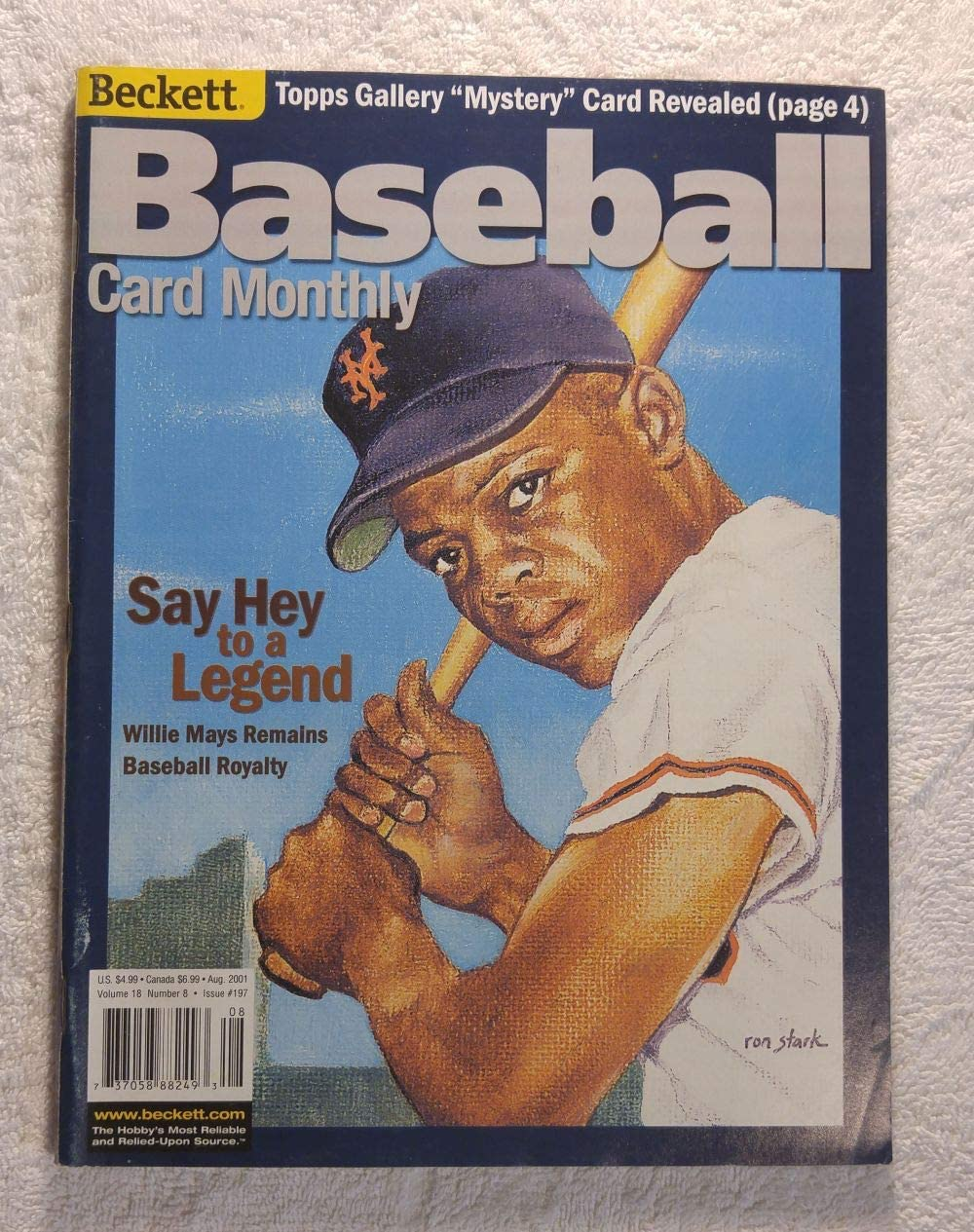 Willie Mays - New York Giants - Say Hey to a Legend - Beckett Baseball Card Monthly - #197 - August 2001