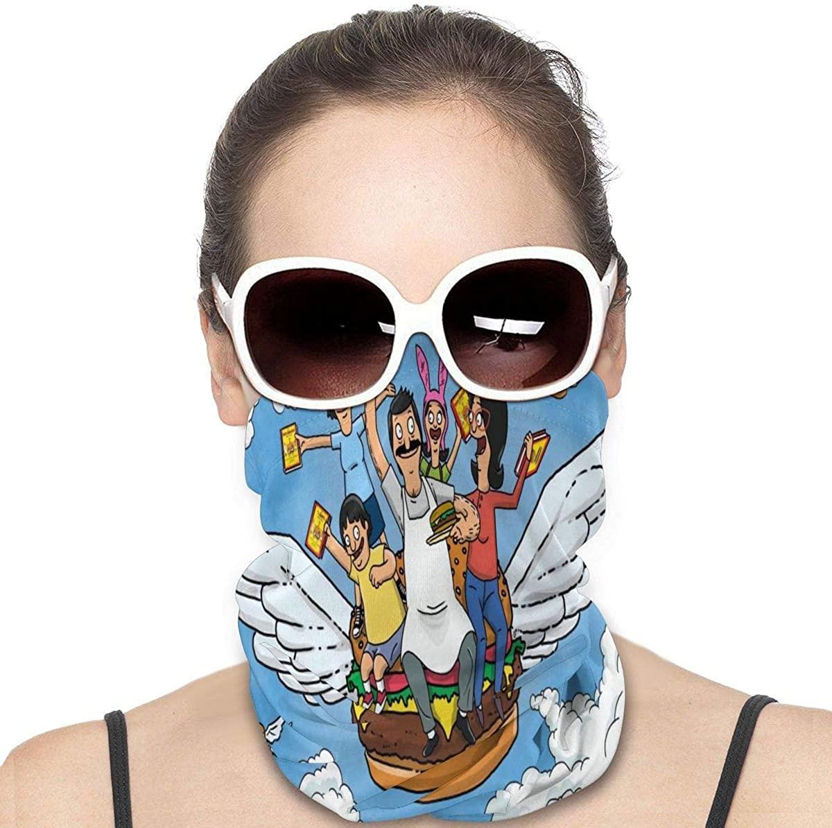 Bob Burgers Unisex Multifunctional Seamless Bandana Face Mask Neck Gaiter Headwear Tube Mask Scarf Black