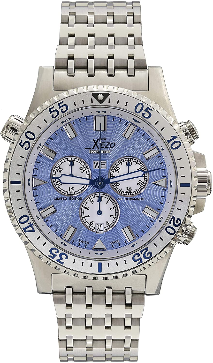 Xezo Air Commando Mens Swiss Made Serialized Luxury Pilots and Diver Chronograph Watch, 30 ATM, 2nd Time Zone