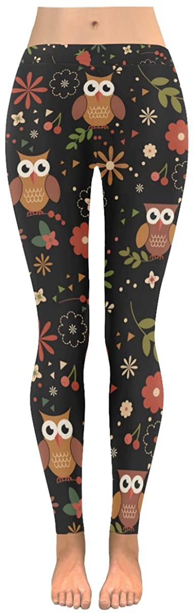 INTERESTPRINT Custom Cute Owl Floral Stretchy Capri Leggings Skinny Pants for Yoga Running Pilates Gym(2XS-5XL)
