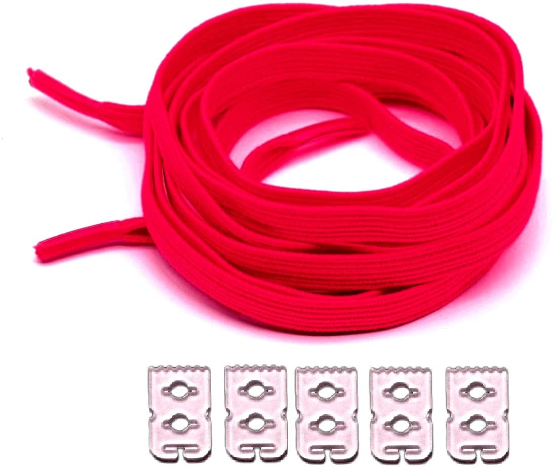 neon No tie Flat Elastic Shoelaces with Adjustable Tension 35