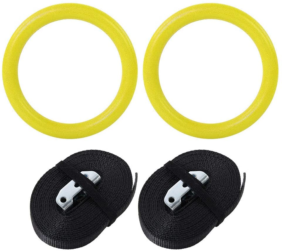 hongxinq ABS Gymnastic Rings Gym Fitness Training Exercise Tool with Straps