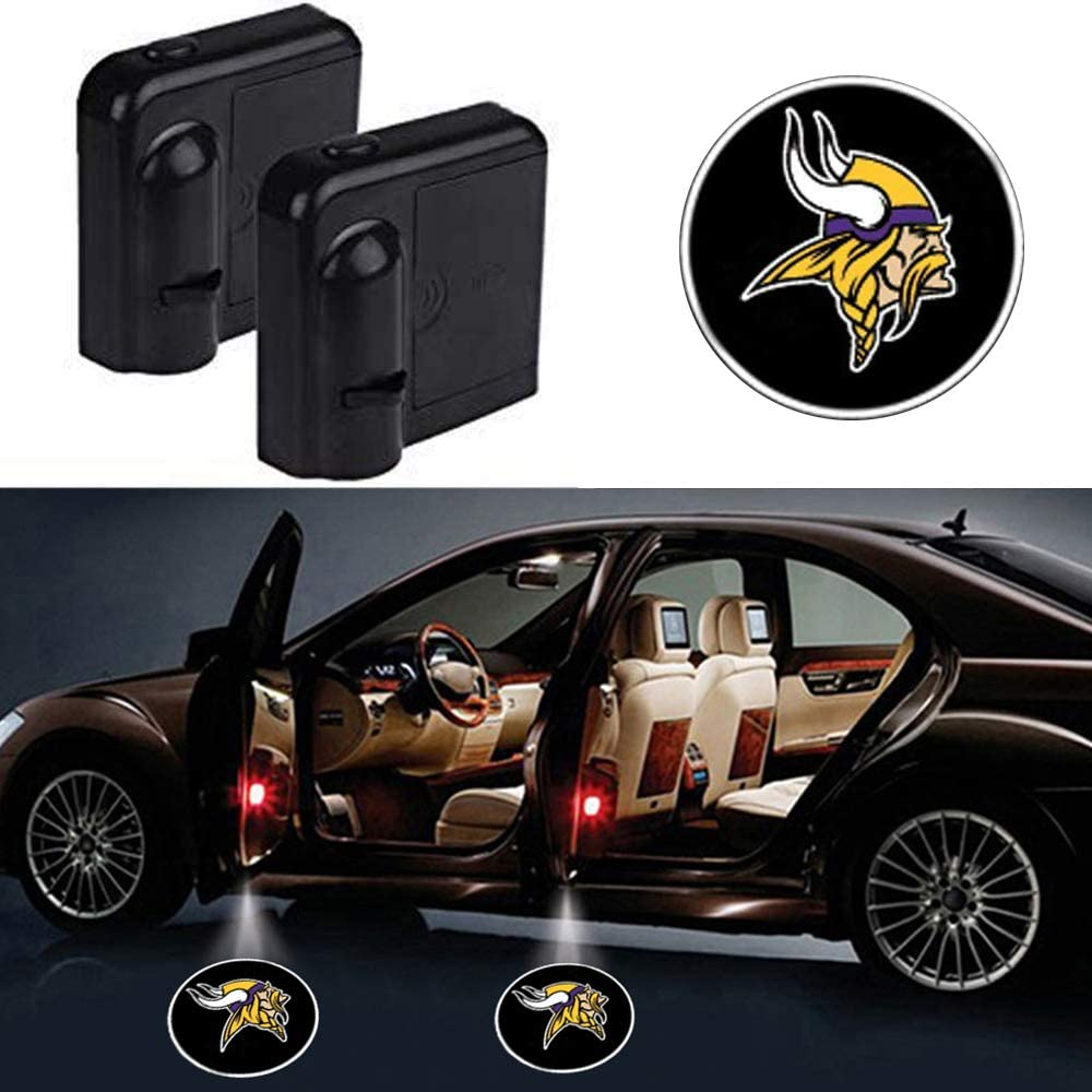 wesport Car Door Led Welcome Laser Projector Car Door Courtesy Light Suitable Fit for all brands of cars (Minnesota Vikings)