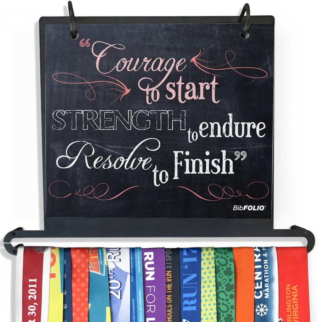 Gone For a Run Chalkboard Courage to Start BibFOLIO Plus Race Bib and Medal Display Wall Mounted | Multiple Colors