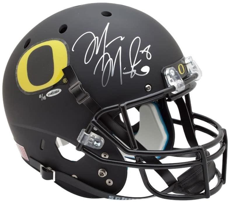 Marcus Mariota Signed University of Oregon Black Schutt Replica Helmet - Upper Deck - Autographed College Helmets