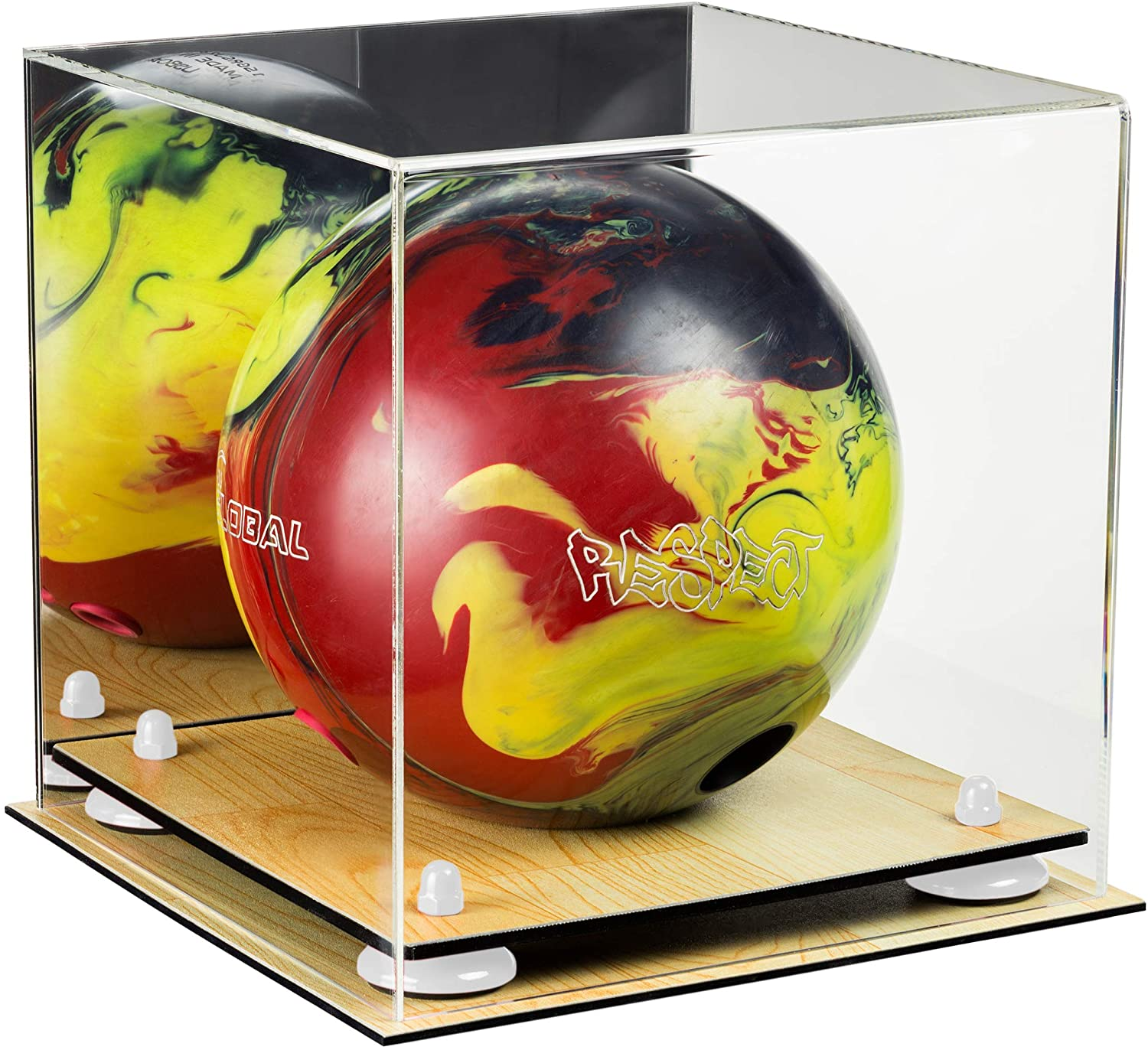 Better Display Cases Acrylic Bowling Ball Display Case with Risers