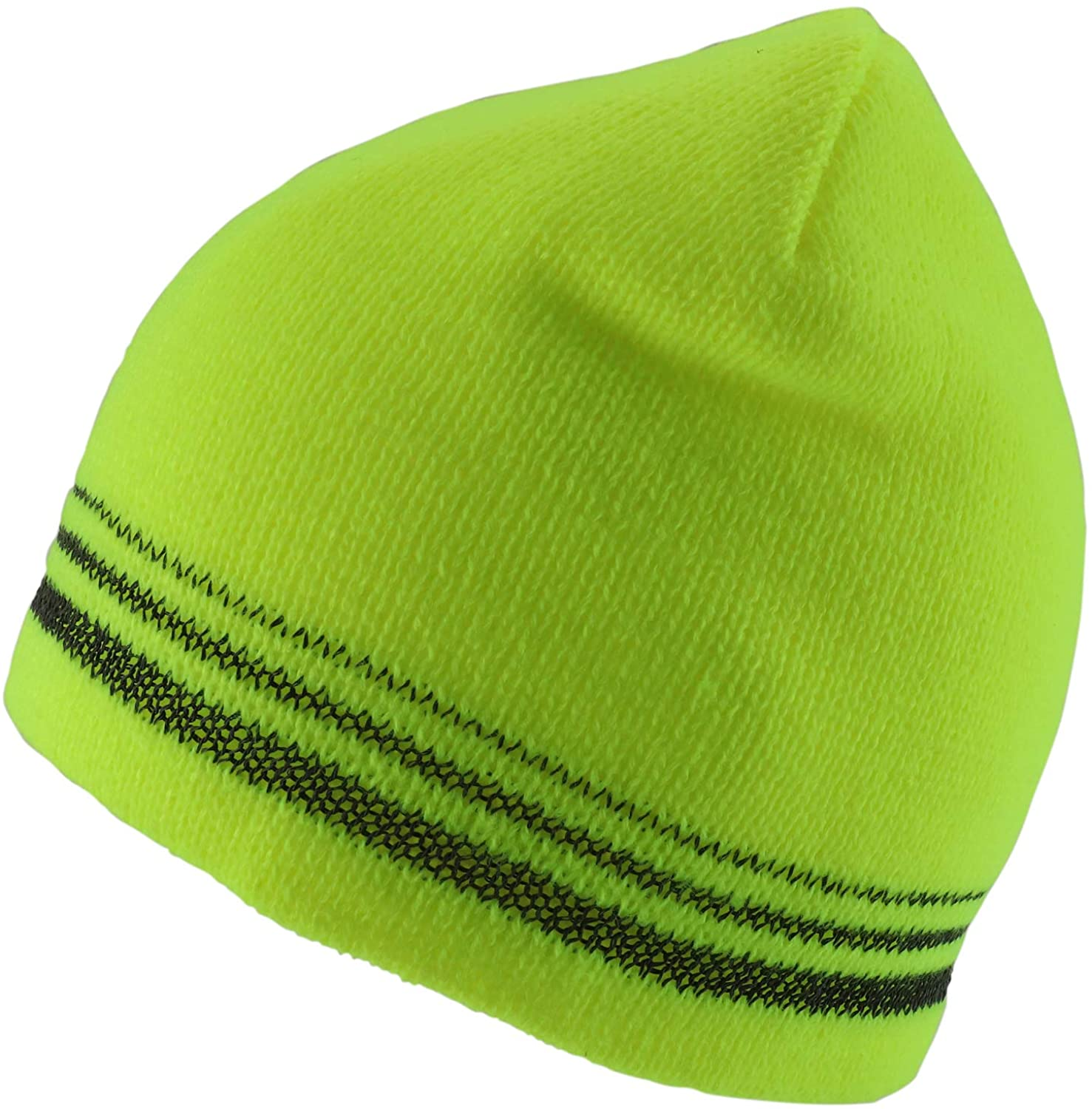Trendy Apparel Shop 3 Reflective Stripes High Visibility Safety Beanie Hat