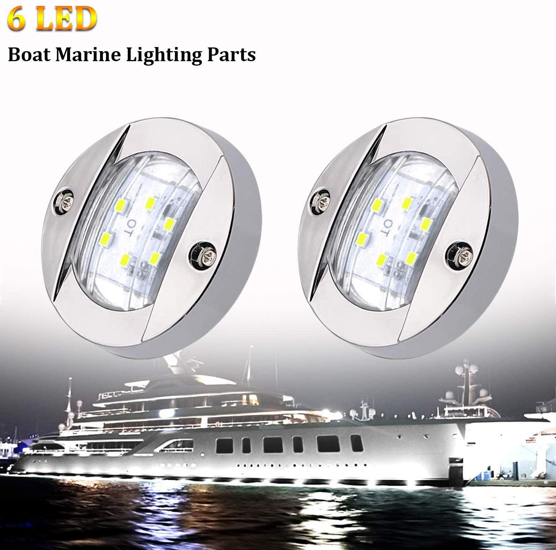 PSEQT 3'' LED Round Boat Stern Lights Transom Navigation Marine Light Chrome Flush Mount Waterproof (2 Pcs)