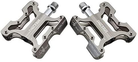 ECLENYES Ultralight Aluminium MTB Bike Pedals Non-Slip Bicycle 3 Bearing Pedals - Titanium Color