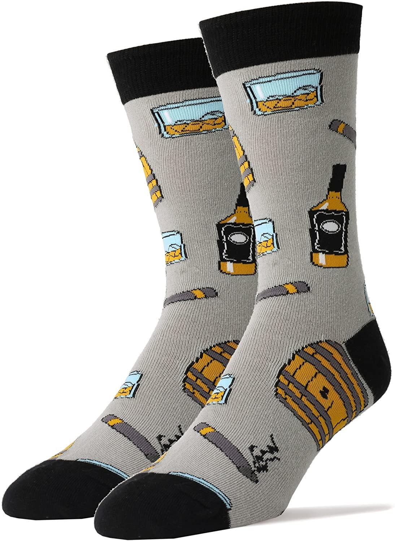 Oooh Yeah Men's Novelty Crew Socks, Beer Socks, Whiskey Socks, Funny Crazy Silly Cool Socks