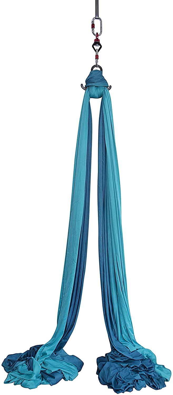 F.Life Profession Aerial Silks Equipment- Low Stretch,60 inch Width 9 Yards Aerial Silk Hardware kit for Acrobatic Dance,Air Yoga, Aerial Yoga Hammock Kids/beginer