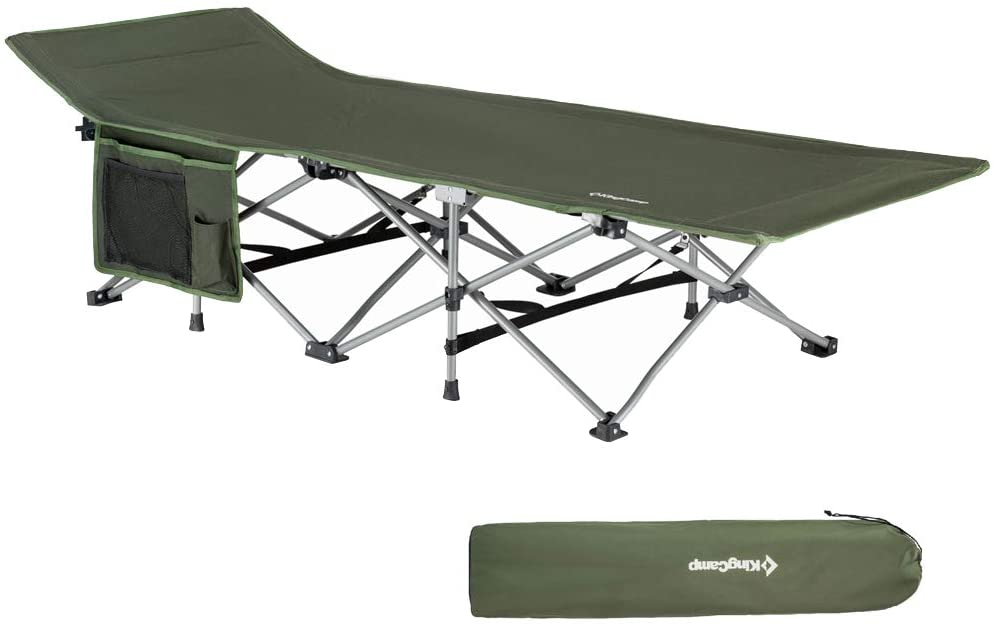 KingCamp Folding Camping Cot for Adults W/Carry Bag, Portable Sleeping Cot for Camp Office Use W/Pockets, Heavy Duty Folding Cot Bed, Blue Gray Green