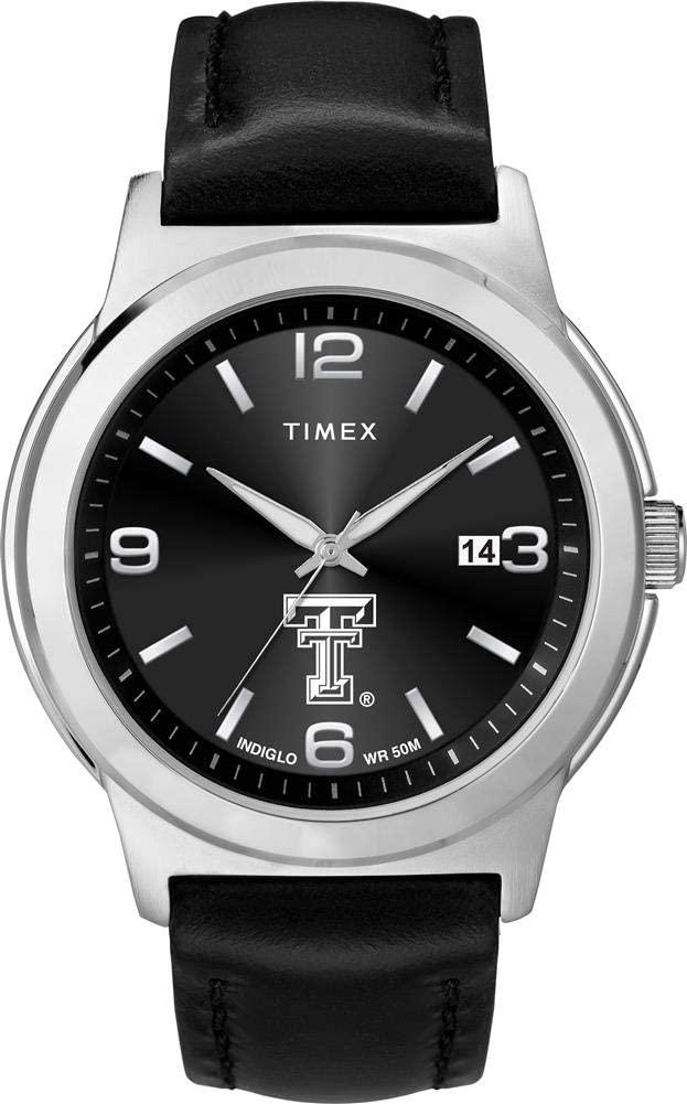 Timex Men's Texas Tech University Watch Black Leather Band Ace
