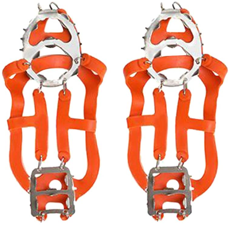 IMIKEYA Ice Cleats Crampons Boots Shoes Women Men Kids 18 Stainless Spikes Traction Cleats Fishing Hiking Walking Mountaineering Climbing Supplies (Orange M)