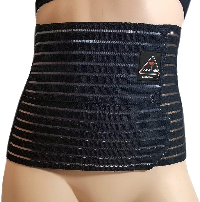 ITA-MED Women's Breathable Abdominal/Back Support Binder AB-208: Black Large
