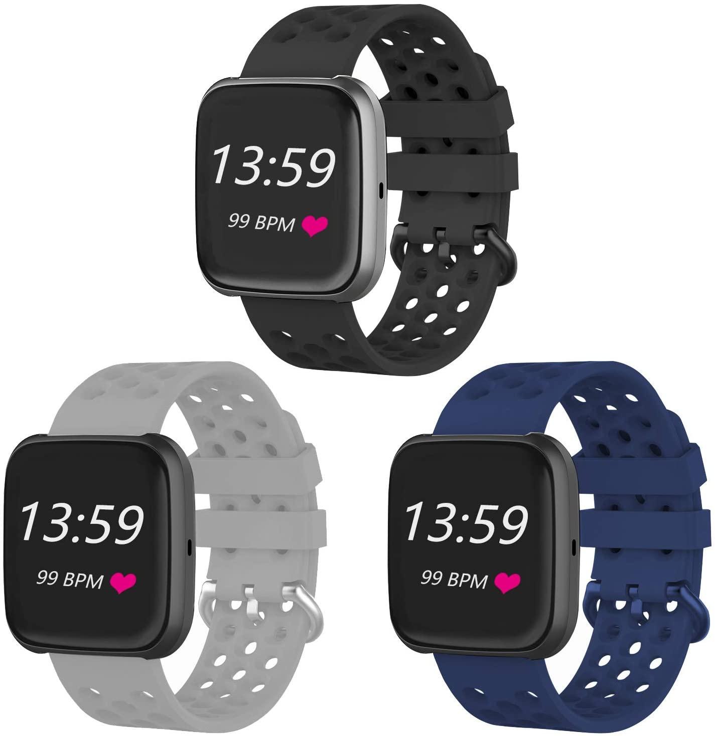 VINIKI 3Pcs Sport Bands Compatible with Fitbit Versa/Versa 2/Versa Lite/SE Special Edition Adjustable Sport Wristbands (Black,Grey,Dark Blue/Large Size)