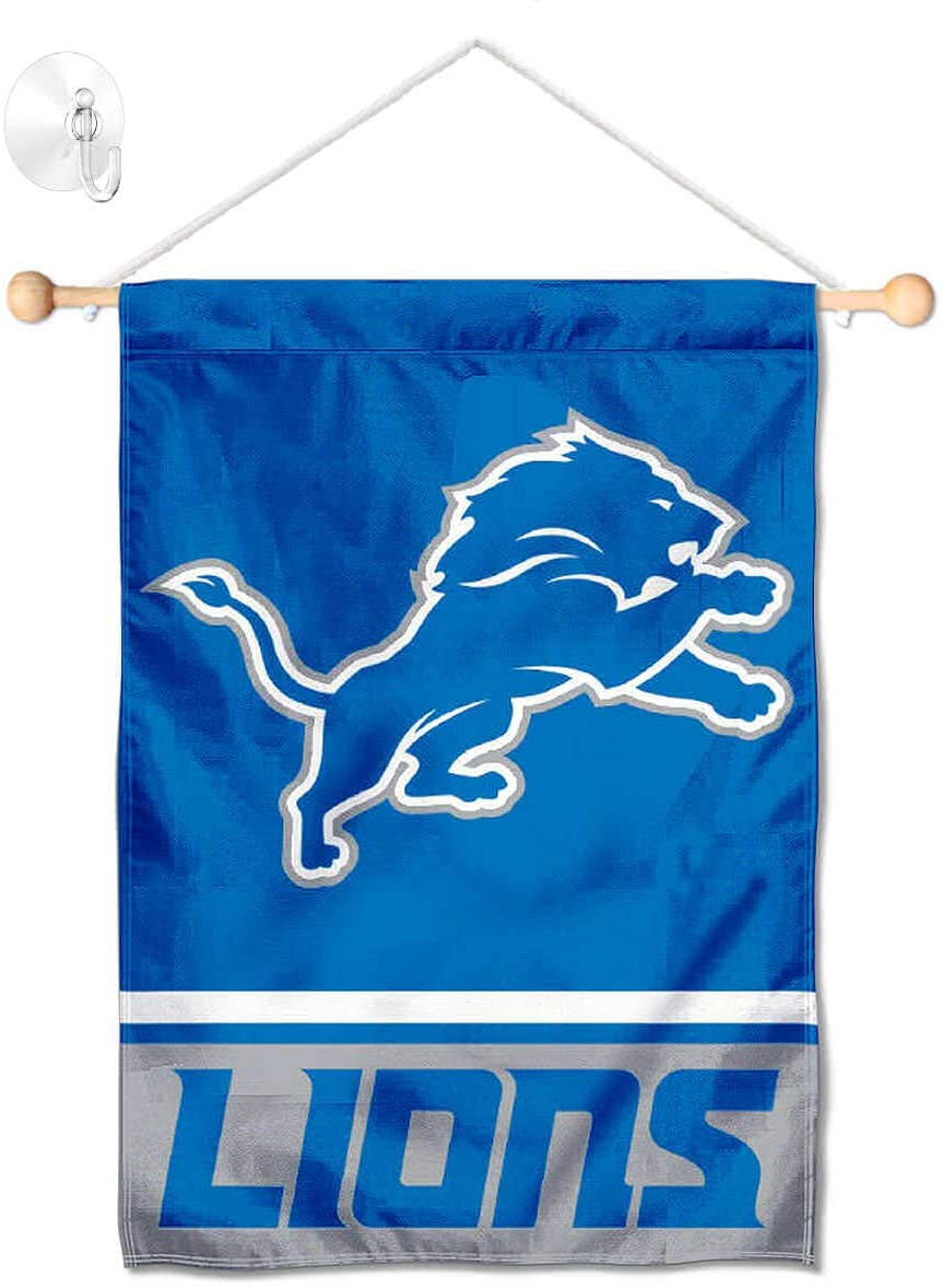 Detroit Lions Banner Window Wall Hanging Flag with Suction Cup