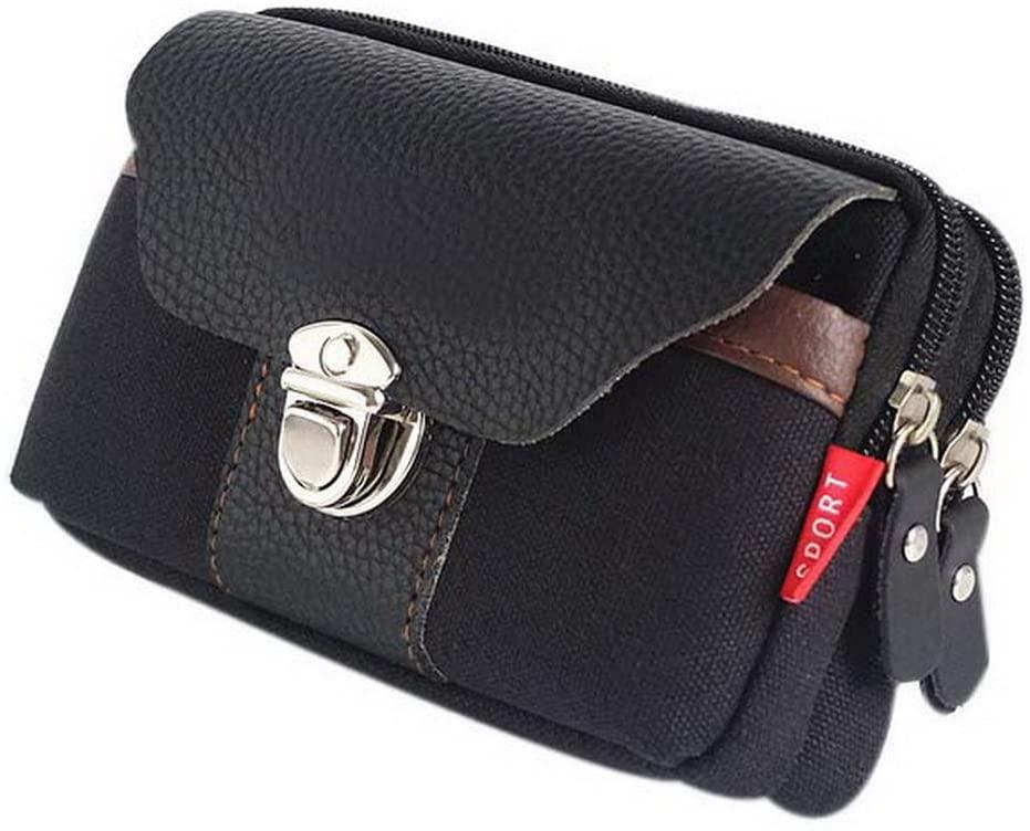 Gentle Meow 5.5 Inch Mobile Phones Rectangle Waist Bag Men's Outdoor Sports Pouch Bag, Black