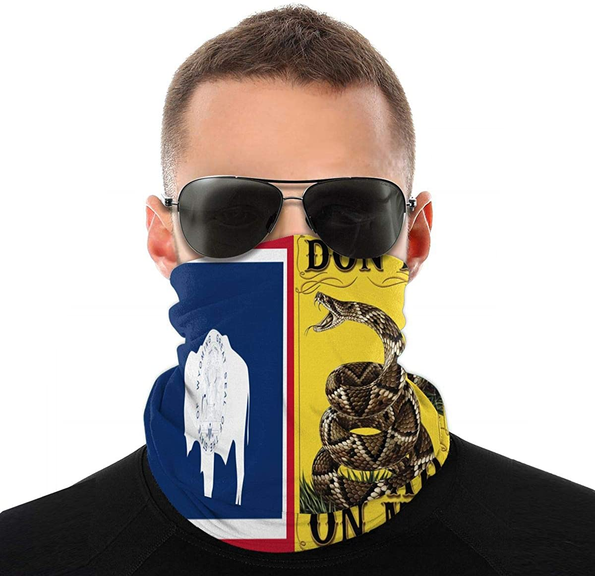 Wyoming State Flag US Don't Tread On Me Bandana Face Mask for Men Women Scarf Sweatband Headband