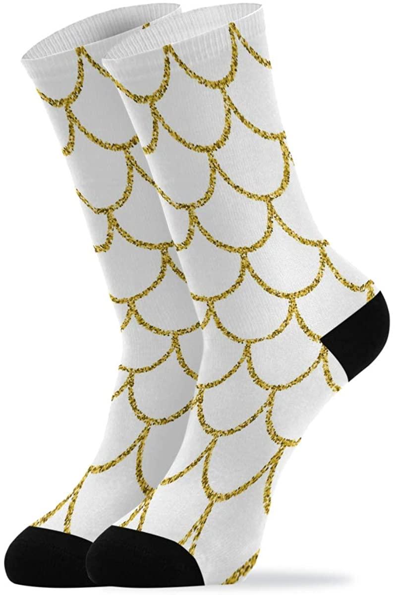 ALAZA Glitter Mermaid Tail Cushion Socks Crew for Women Men