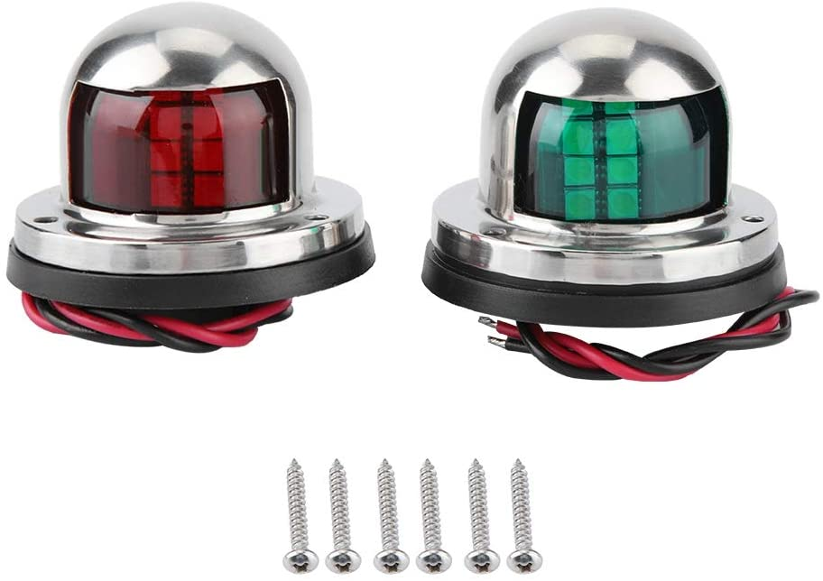 Gorgeri 1 Pair Red & Green LED Navigation Light Signal Lamp Sidelight for Marine Boat Yacht Accessory