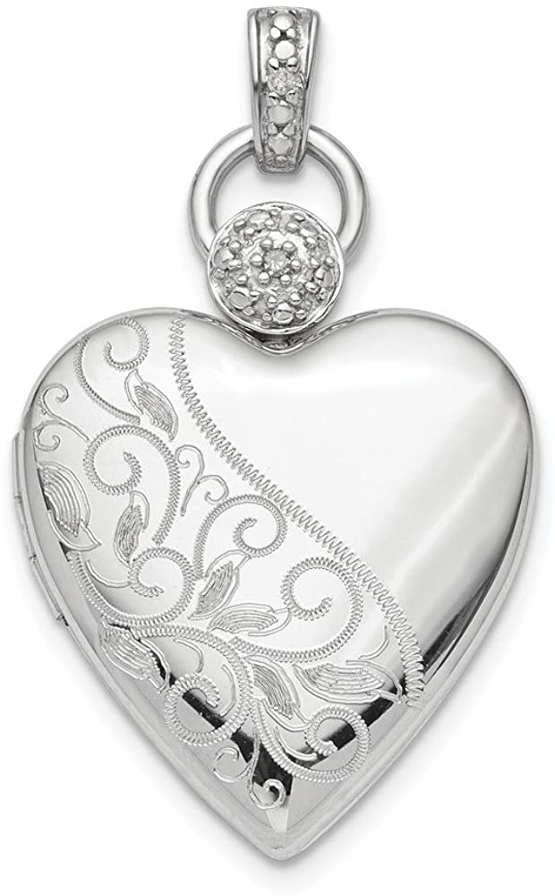 925 Sterling Silver Plate 21mm Heart Diamond Accent Photo Pendant Charm Locket Chain Necklace That Holds Pictures Fine Jewelry For Women Gifts For Her