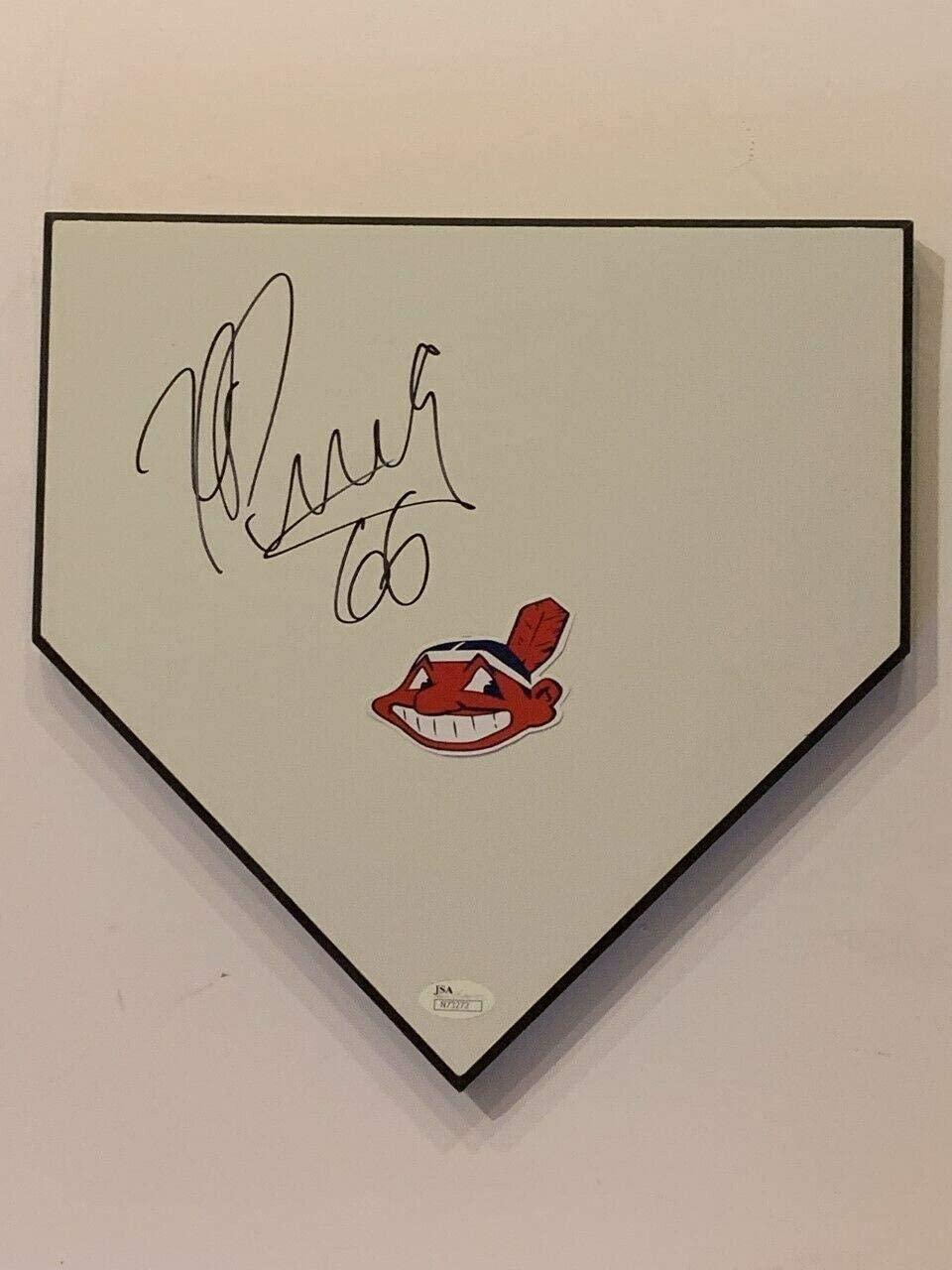 Yasiel Puig Signed Home Plate Indians Full Signature Jsa Coa - MLB Game Used Bases