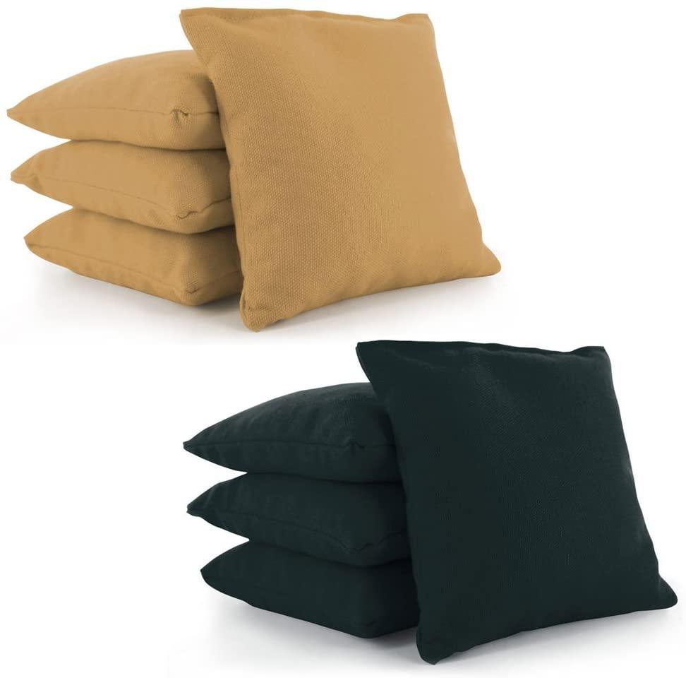 Cornhole Bags Set of 8 by Tailor Spot Corn-Filled ACA Regulation 25+ Colors (Gold-Dark Green)