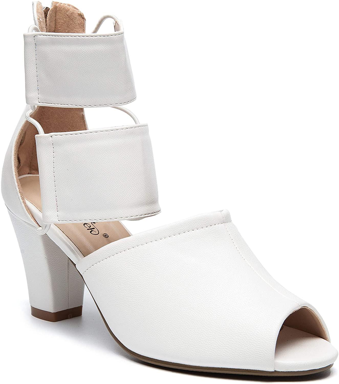 ANN CREEK Women's 'Ravia' Fashion Design Handmade Double Ankle Strap Peeptoe Shoe White
