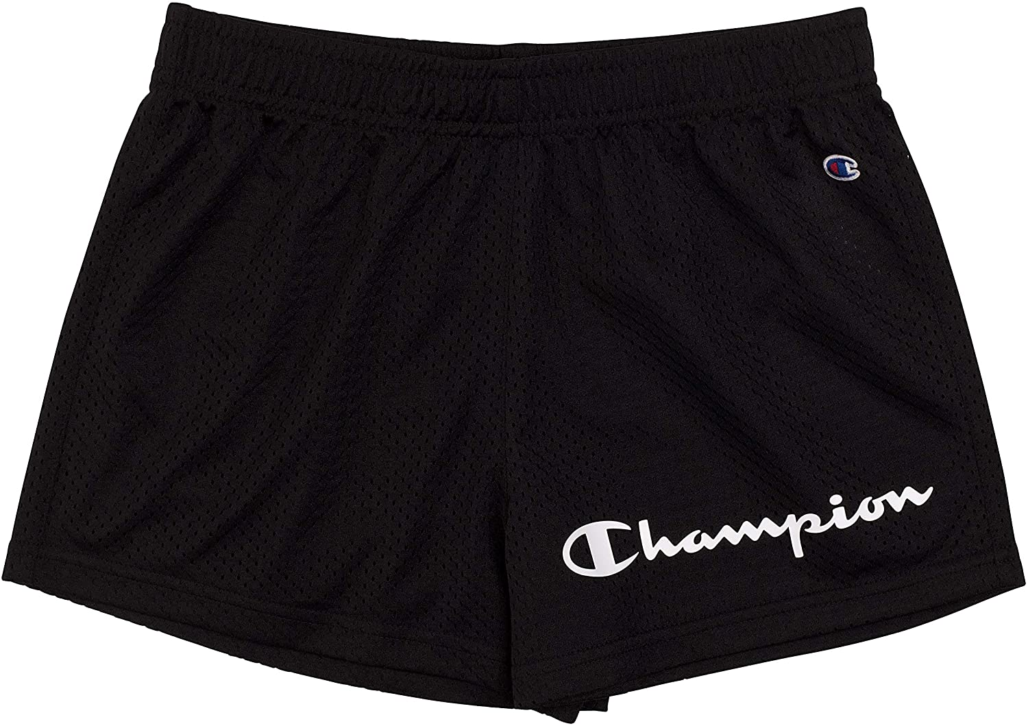 Champion Girls Heritage Foldover Mesh Running Basketball Short 2.75 Inch Inseam(X-Large,Varsity Black-Mesh)