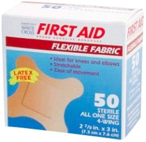 Flexible Fabric Bandages, Latex-Free Large Fingertip Bandage, 1.75x3 Inch, 50 Pack
