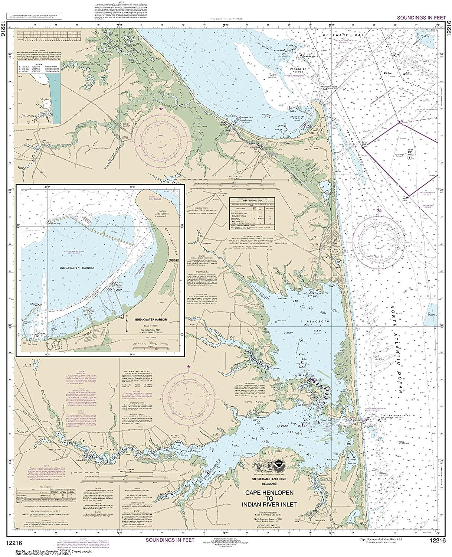 NOAA Chart 12216 Cape Henlopen to Indian River Inlet;Breakwater Harbor: 37.56