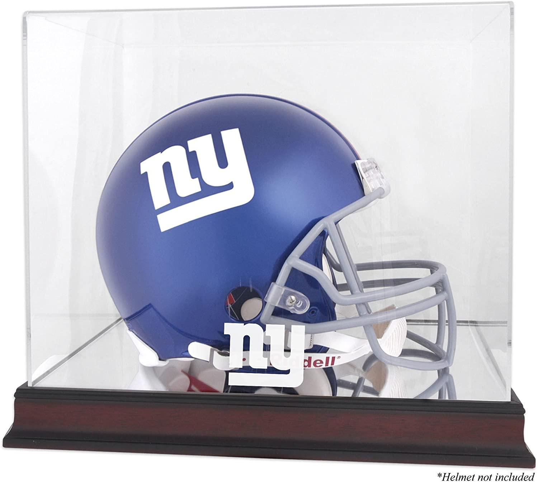 Mounted Memories New York Giants Mahogany Helmet Logo Display Case and Mirror Bottom and Back