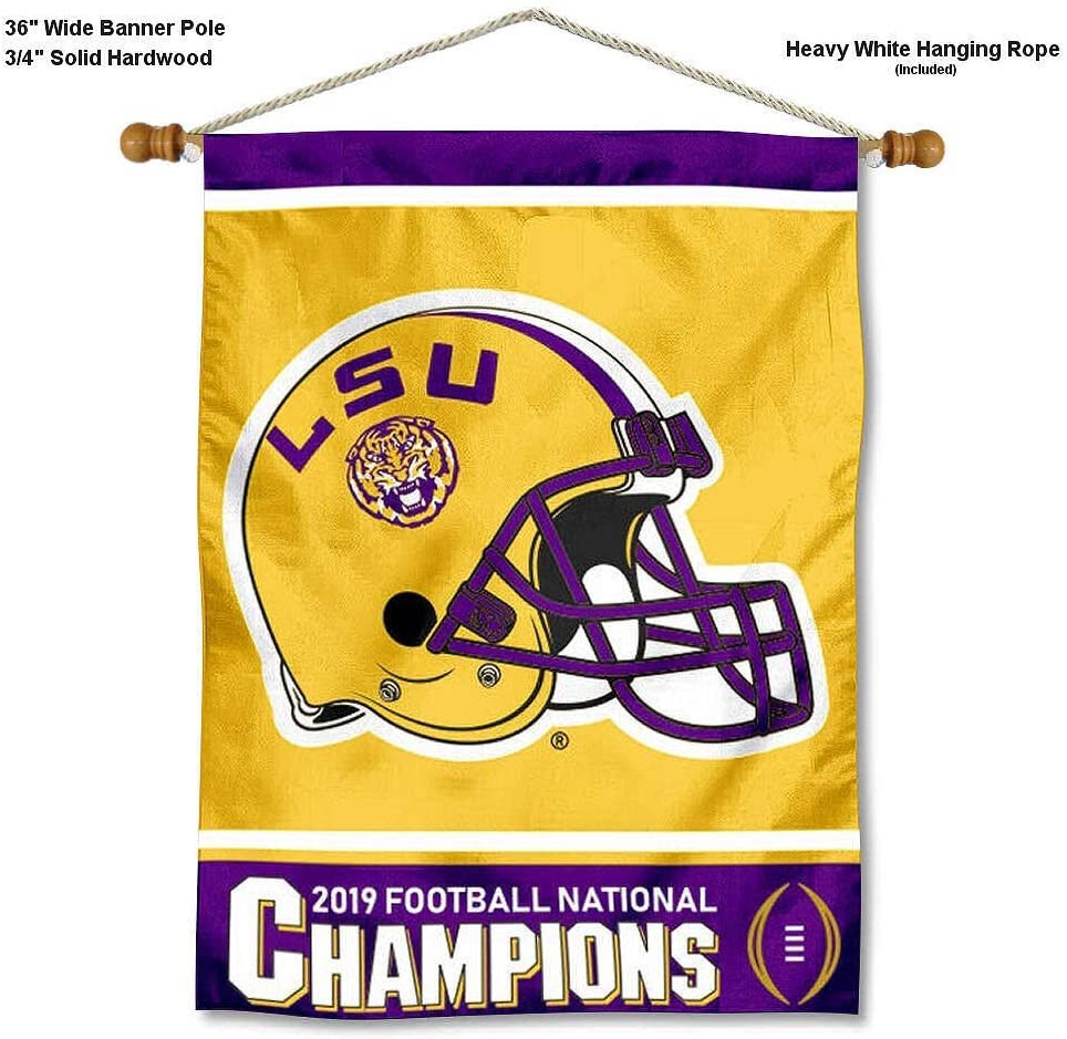 College Flags & Banners Co. Louisiana State LSU Tigers National 2019 Football Champions Banner with Hanging Pole