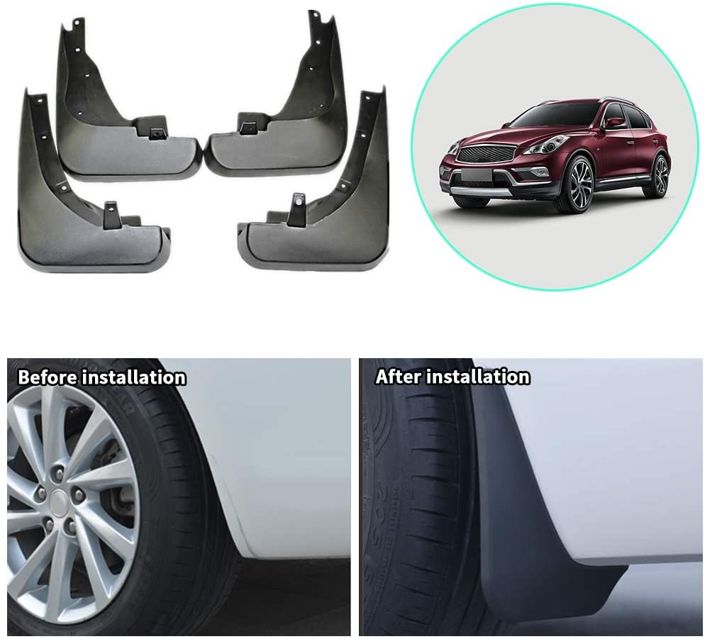 Upgraded Car Mud Flaps Mudguards for Infiniti EX35 QX50 2010-2017 Front Rear Splash Guards Car Fender Styling & Body Fittings Black 4Pcs