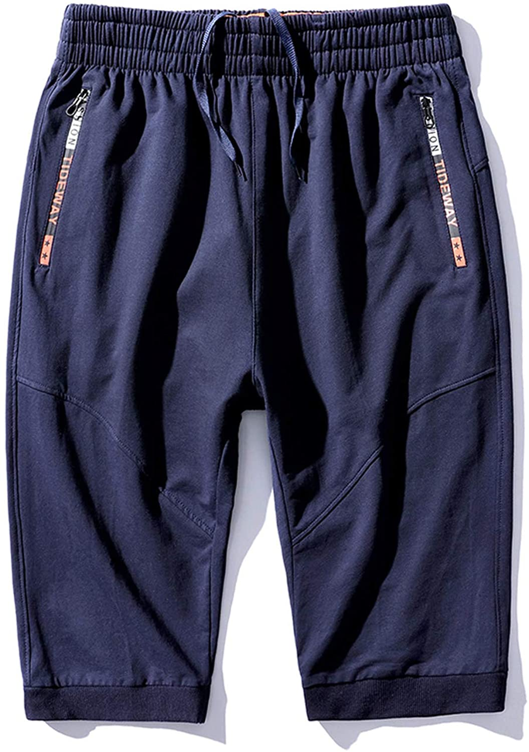 Mr.Stream Men's Plus Size Casual Big and Tall Capri 3/4 Cropped Sports Cotton Basketball Shorts Blue