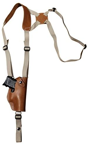 Barsony New Saddle Tan Leather Vertical Shoulder Holster for Compact 9mm 40 45