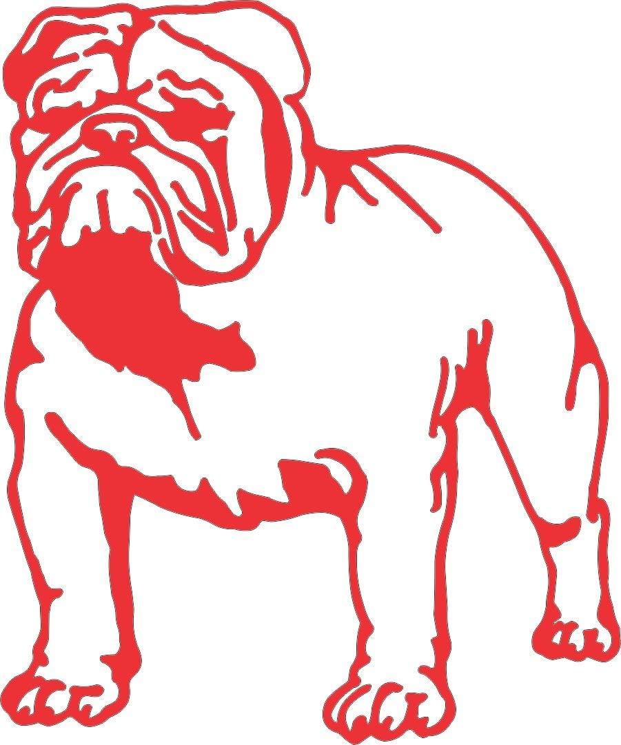 Barking Sand Designs Bulldog Red - Die Cut Vinyl Window Decal/Sticker for Car/Truck