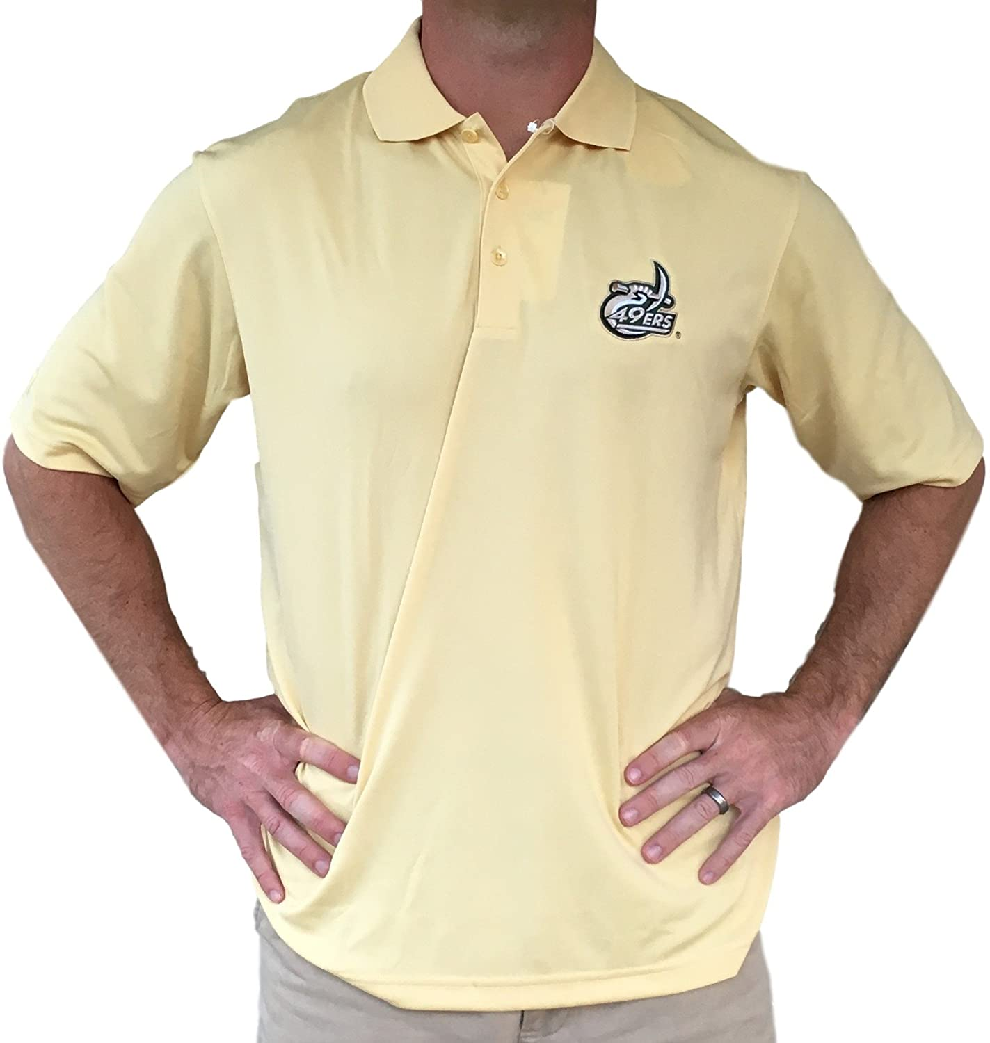 Antigua UNC Charlotte 49ers Exceed Mens Polo Short Sleeve Shirt-Vegas Gold