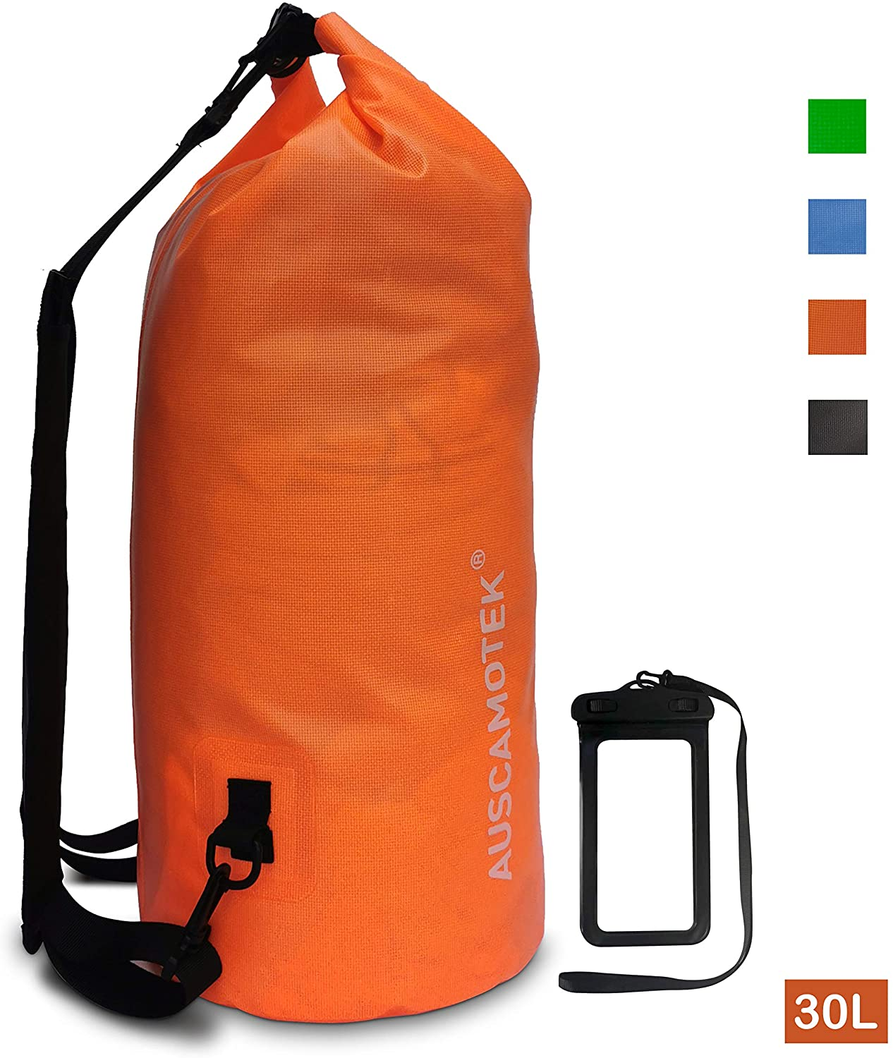 Auscamotek Waterproof Dry Bag Roll Top Dry Compression Sack for Boating Kayaking Beach Rafting Hiking Camping Fishing Hunting Waterproof with Phone Case