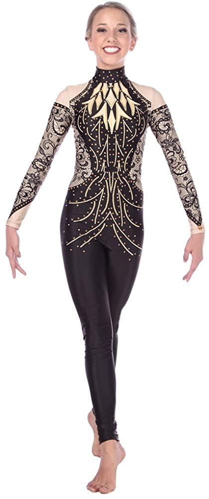 Alexandra Collection Womens Good As Gold Full Body Unitard Dance Costume