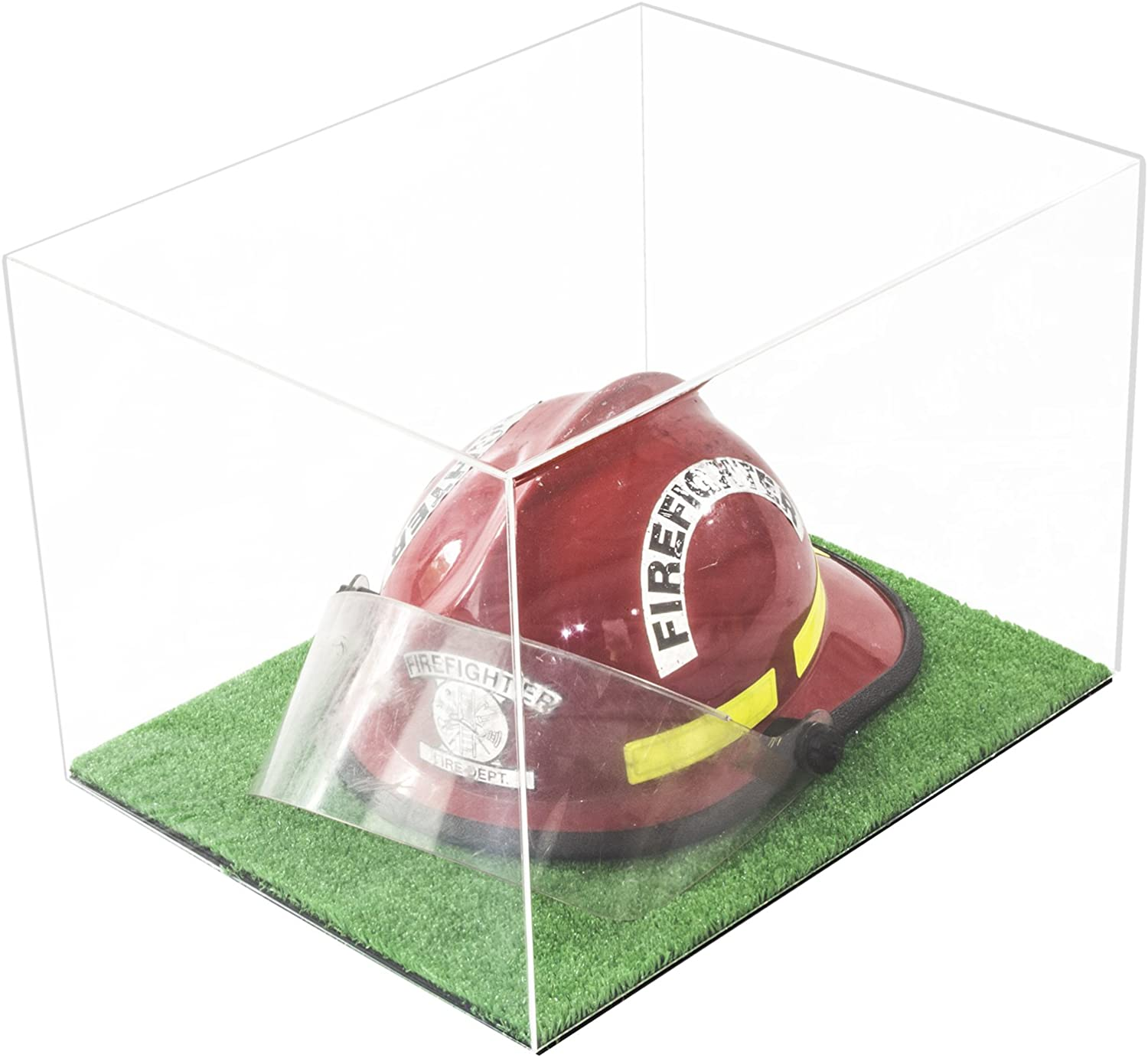 Better Display Cases Versatile Clear Acrylic Display Case - Large Rectangle Box with Turf Base 18