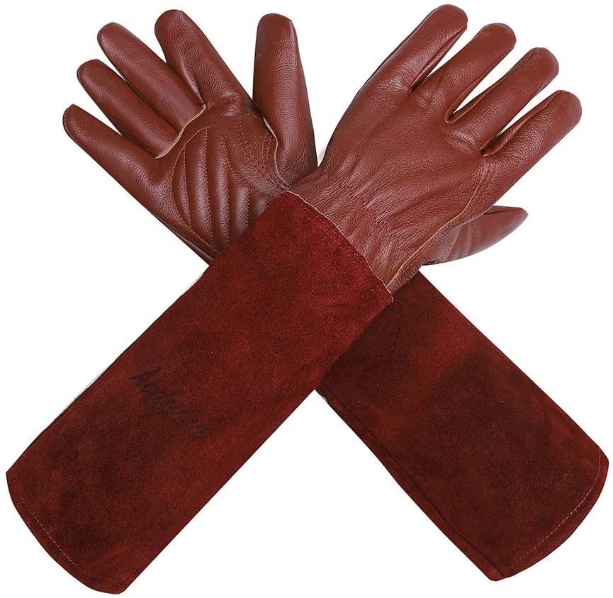 Acdyion Gardening Gloves-Rose Pruning Proof Long Gauntlet Cowhide Garden Gloves
