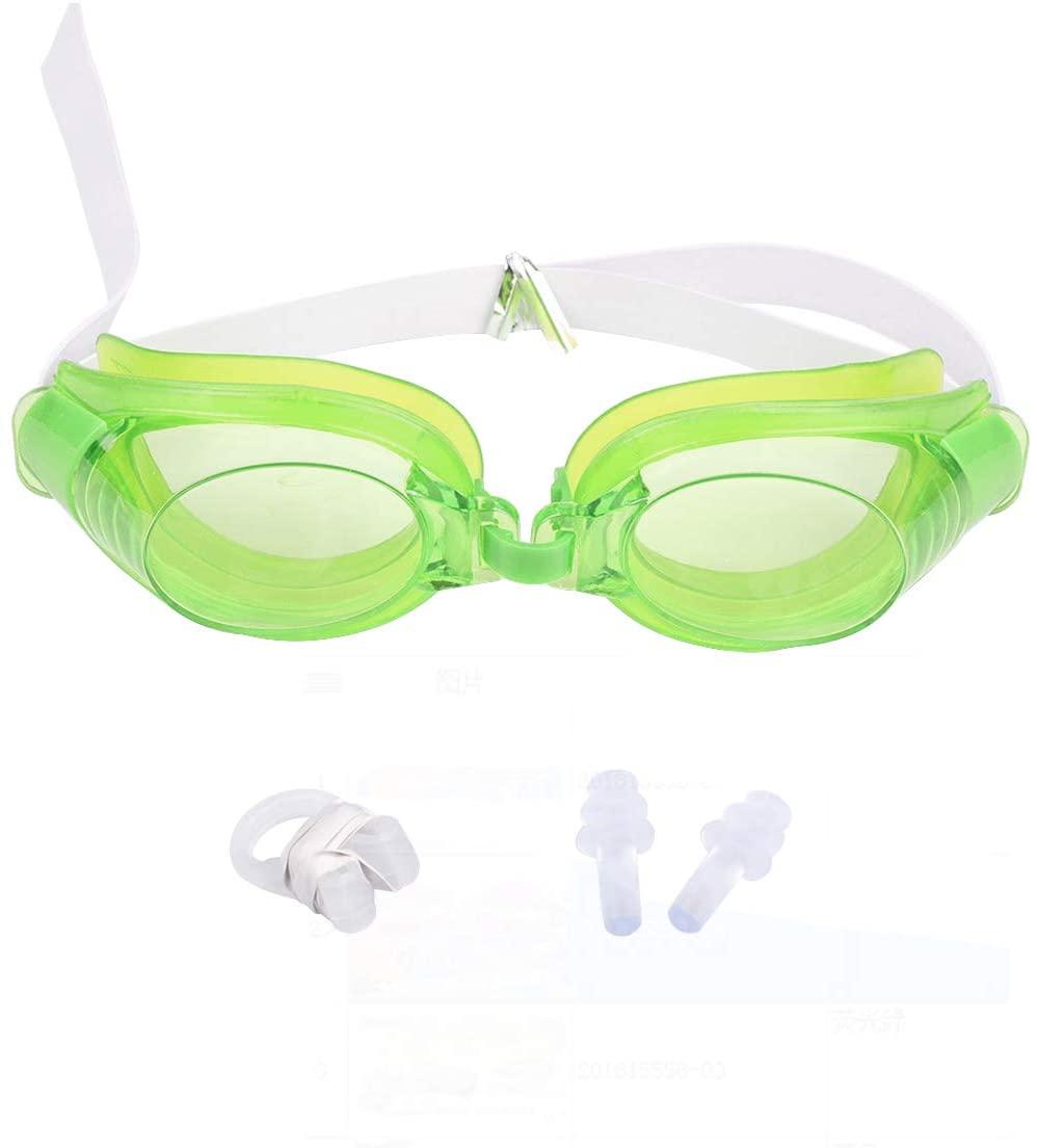 Yuniroom 3Pcs Adjustable Swimming Goggles Anti-Fog Waterproof Pool Swim Eyewear Adult Swimming Glasses with Nose Clip + Earplug