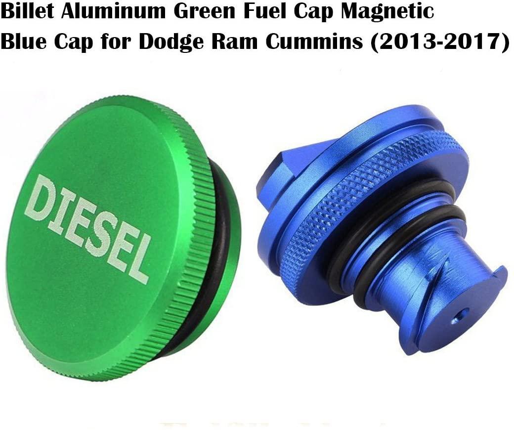 WHDZ 2013-2020 Dodge Ram Diesel Cap Magnetic Billet Aluminum Fuel Cap and Blue Cap Combo Ram def Cap Dodge Gas Cap