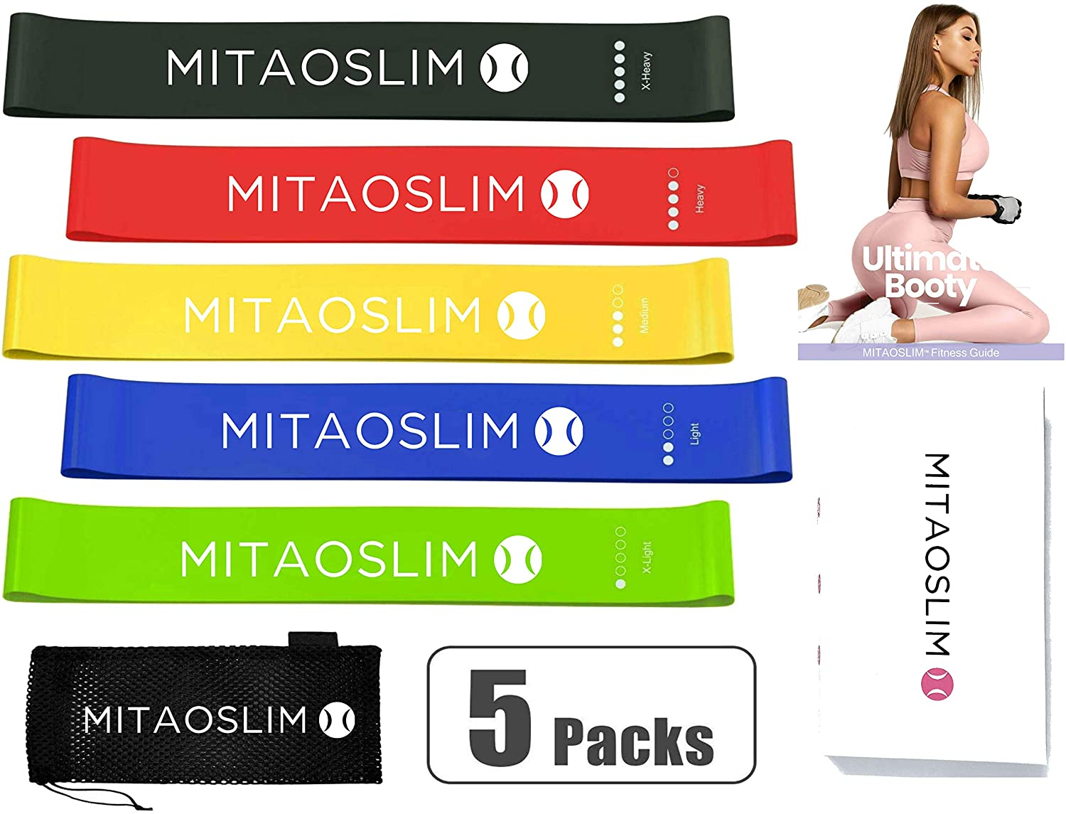 MITAOSLIM Resistance Loop Exercise Bands with 6 Weeks Training Program Fitness Guide Book for Home Fitness Workout Bands Set of 5