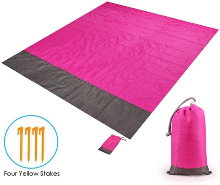 Jemets Portable Picnic Beach Mat Pocket Blanket Waterproof Beach Mat Blanket Mat Mattress Outdoor Picnic Camping Tent Mat-22.1m+4 Floor Nails 200x210cm (78x82in)