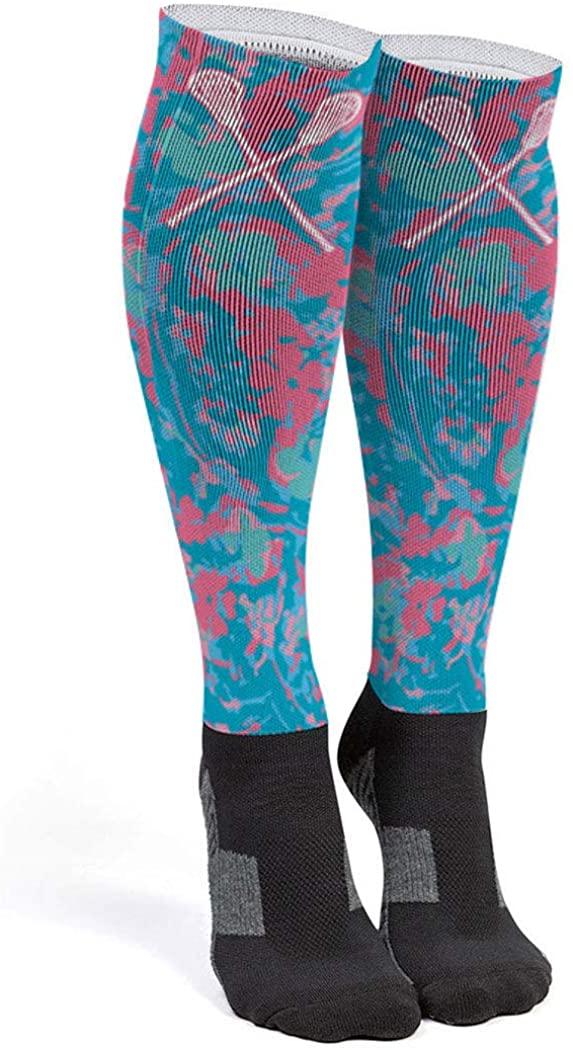 Girls Lacrosse Printed Knee-High Socks   Island Flower Lax Sticks   Multiple Sizes